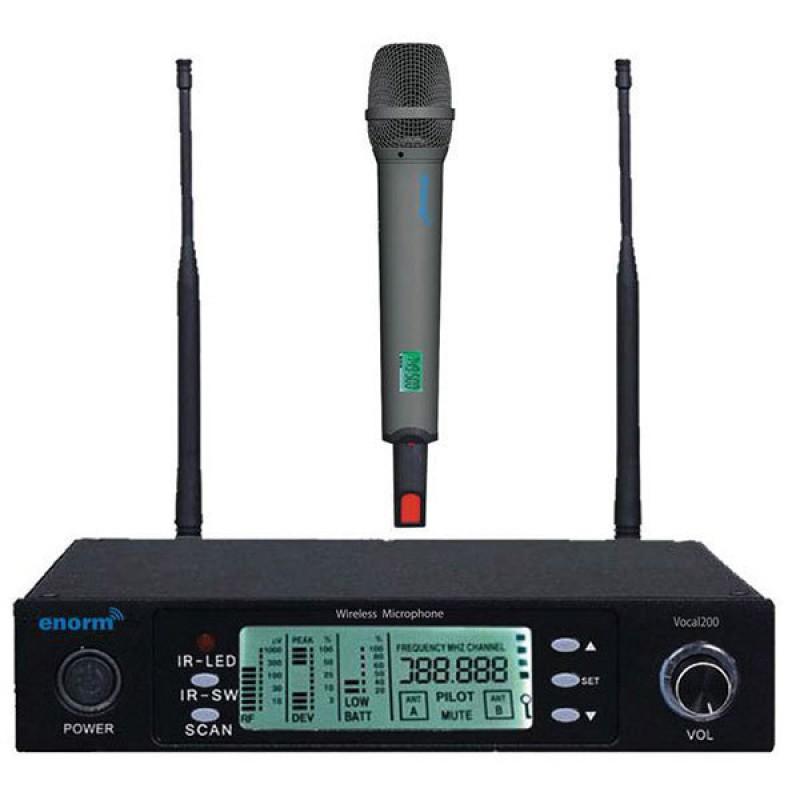 Enorm VOCAL 200 Tekli El Tipi PLL Kablosuz Mikrofon Seti