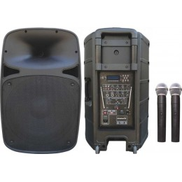 Osawa OSW-1812/A 125 Watt Çift El Mikrofonlu Portatif Taşınabilir Şarjlı Anfi