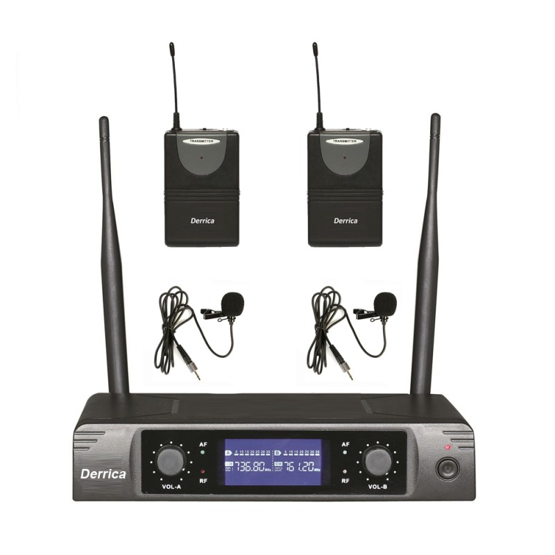 Derrica U-5296HH UHF Kablosuz Çift Yaka Mikrofon