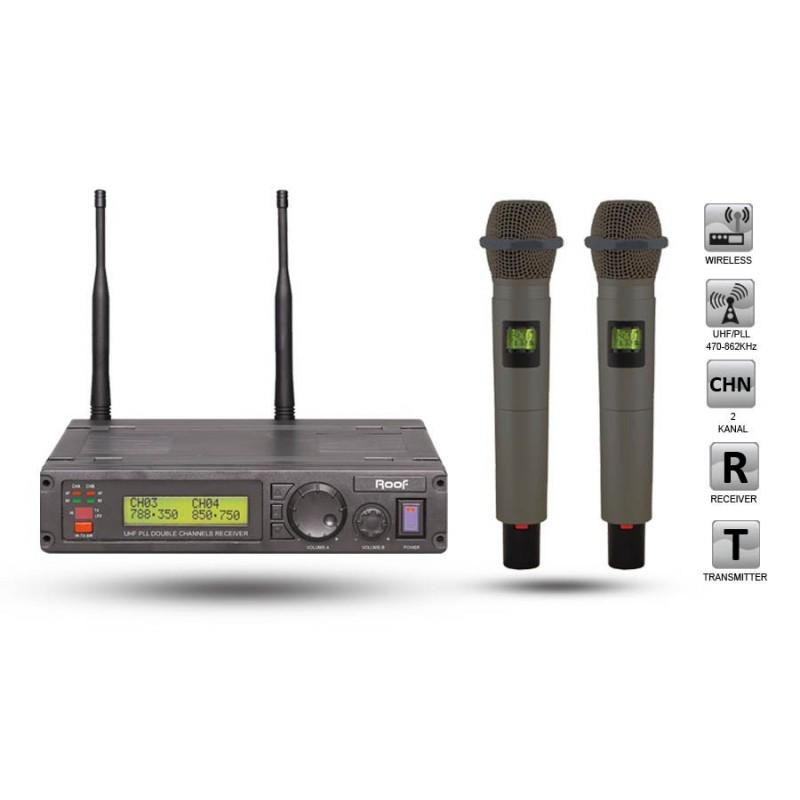 Roof R-1200 EE UHF Dijital Kablosuz 2 El Mikrofon