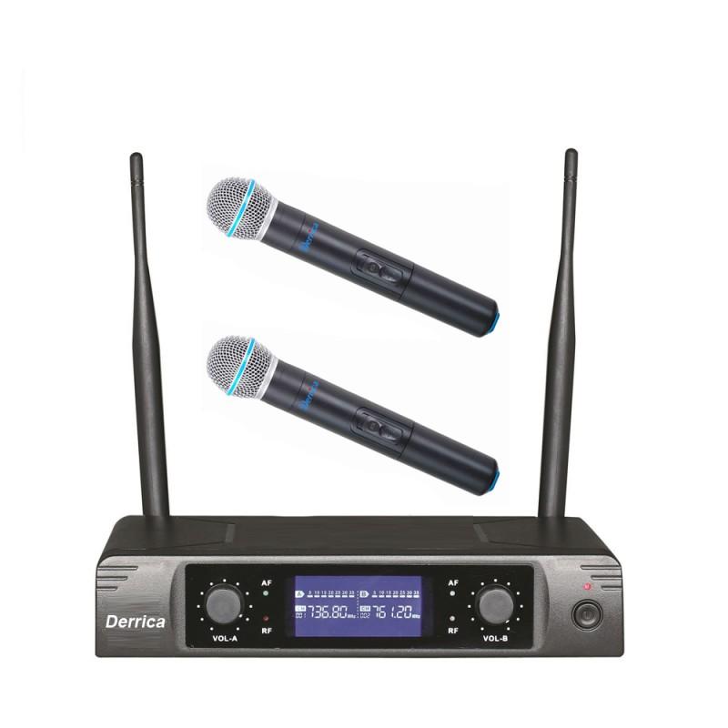 Derrica U-5296MM UHF Kablosuz Çift El Mikrofon