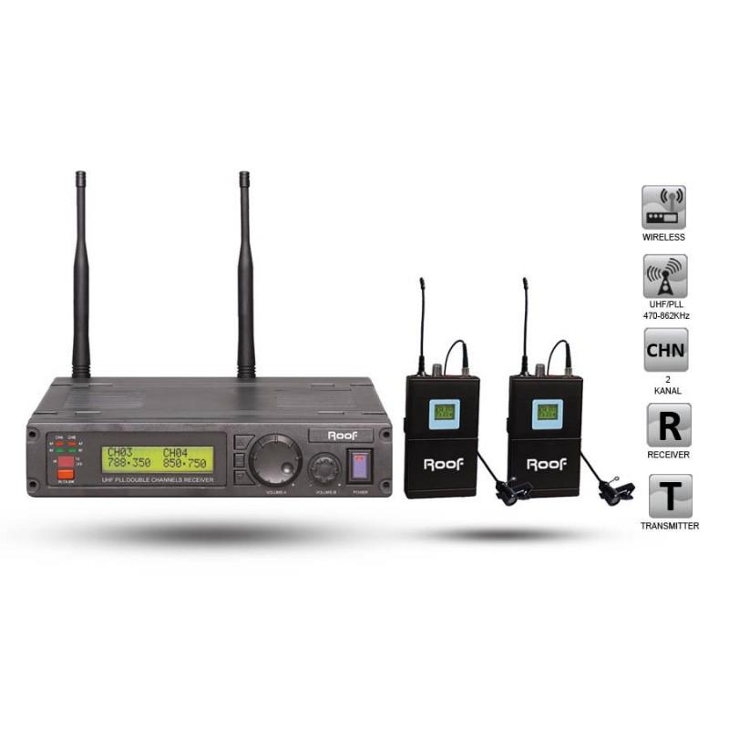 Roof R-1200 YY UHF Dijital Kablosuz 2 Yaka Mikrofon