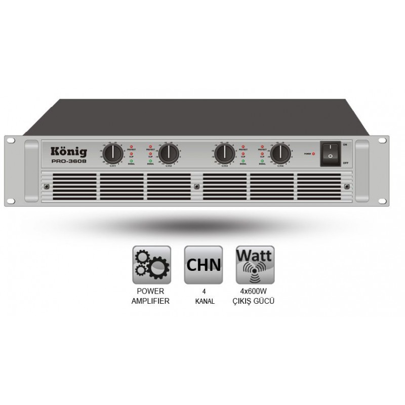König PRO-3608/S 4x600 Watt Power Anfi