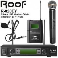 Roof R-820EY UHF Telsiz 1 El + 1 Yaka Mikrofon