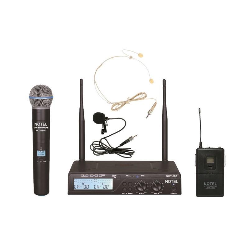 Notel NOT 800 EY 2x100 Kanal UHF Telsiz Kablosuz El+Yaka Mikrofon