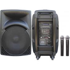 Osawa OSW-1815/A 150 Watt Çift El Mikrofonlu Portatif Taşınabilir Şarjlı Anfi