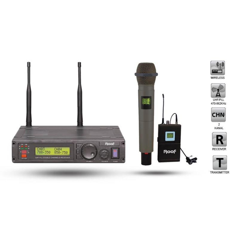 Roof R-1200 EY UHF Dijital Kablosuz 1 El + 1 Yaka Mikrofon