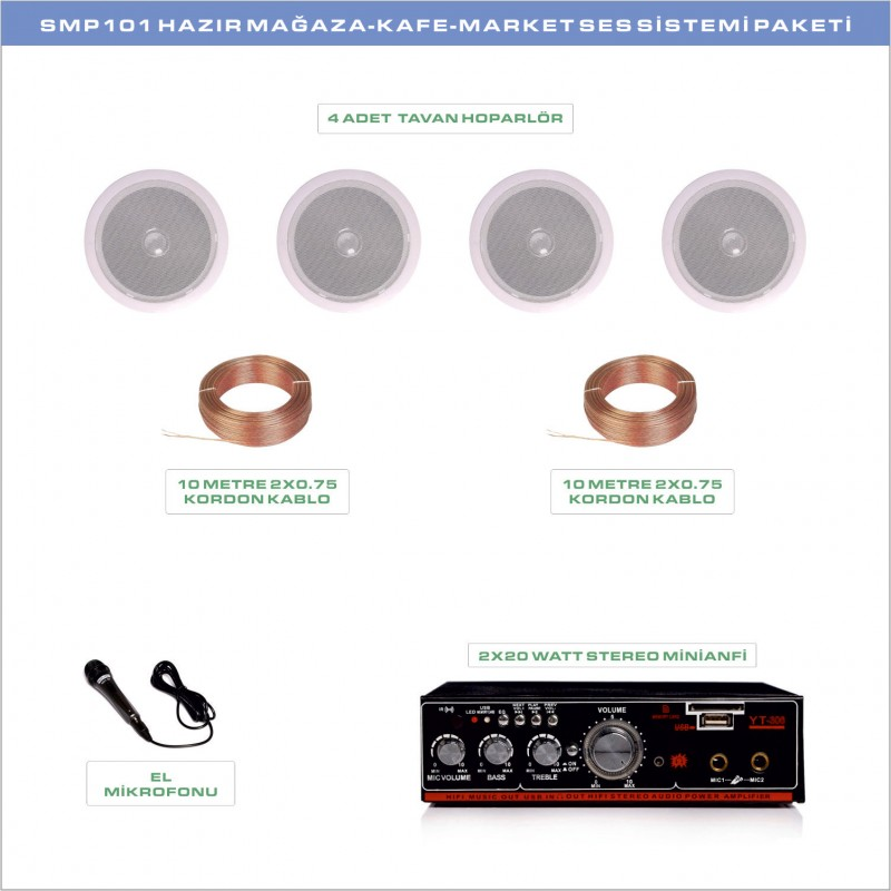 SMP 101 Hazır Mağaza Kafe Ses Sistemi Paketi